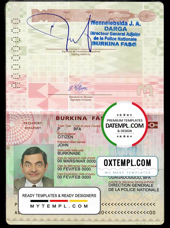 Burkina Faso passport template in PSD format, fully editable