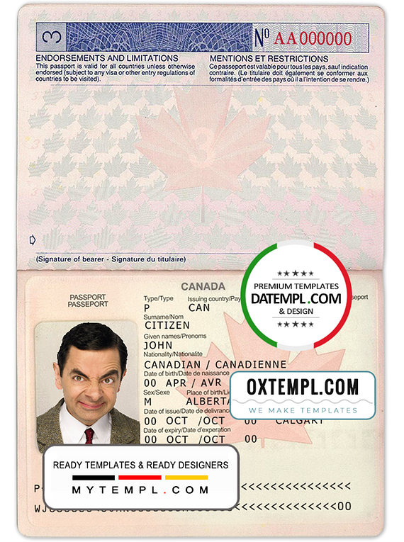 Canada passport template in PSD format, fully editable, with all fonts (2002-2010)