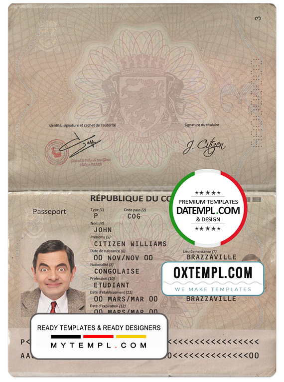Congo passport template in PSD format, fully editable, with all fonts