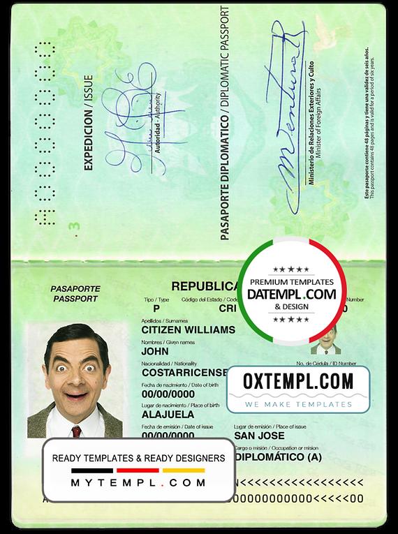 Costa Rica diplomatic passport template in PSD format