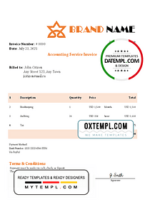 # asset trust universal multipurpose invoice template in Word and PDF format, fully editable