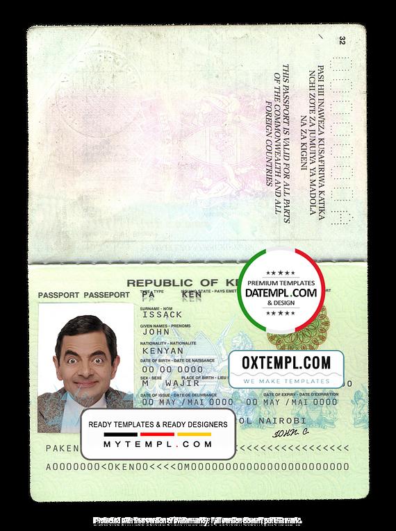 Kenya passport template in PSD format, fully editable