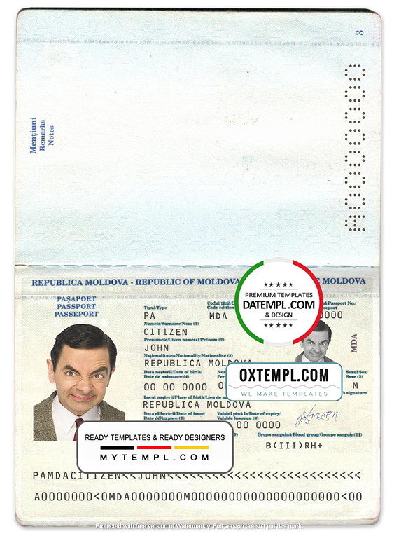 Moldova passport template in psd format, fully editable, with all fonts