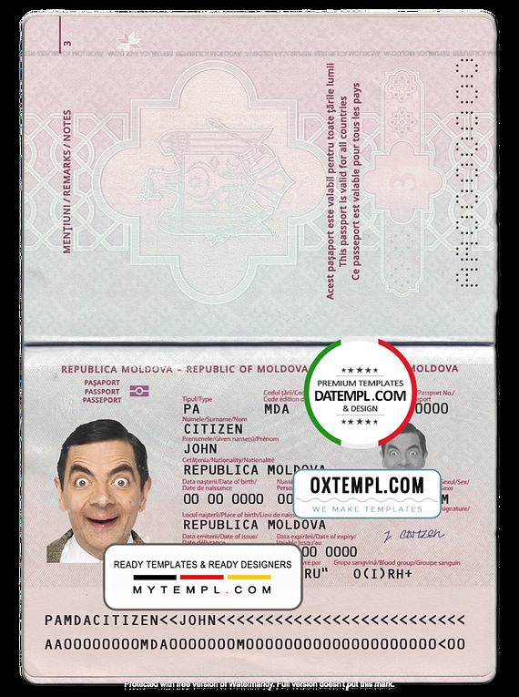 Moldova passport template in PSD format, new version