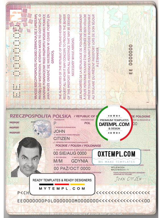 Poland passport template in PSD format, fully editable