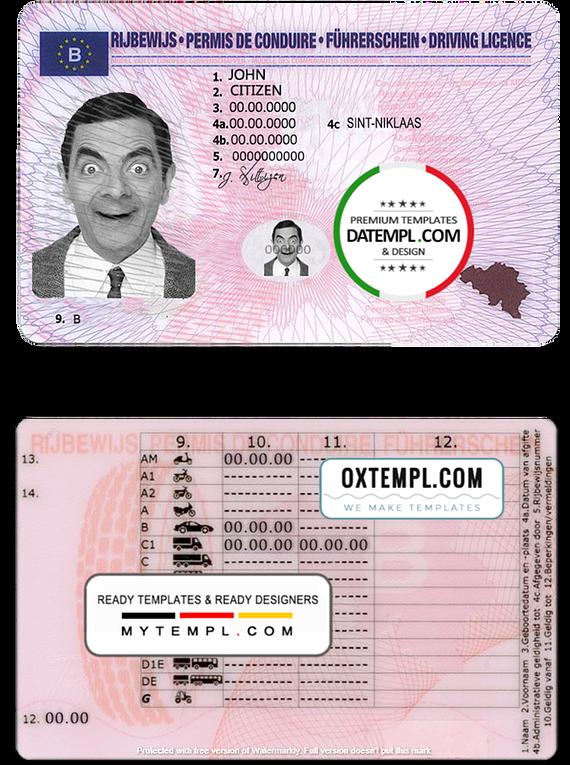 Belgium driving license template in PSD format