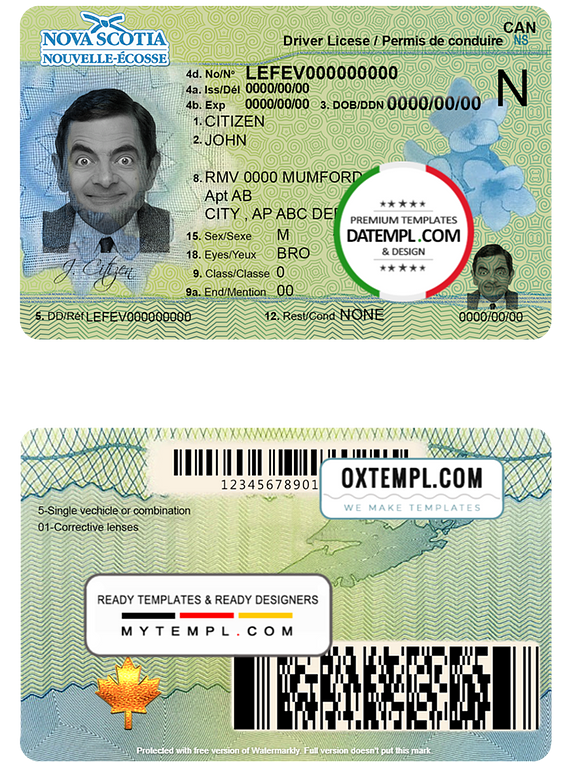 Canada Nova Scotia driving license template in PSD format, fully editable
