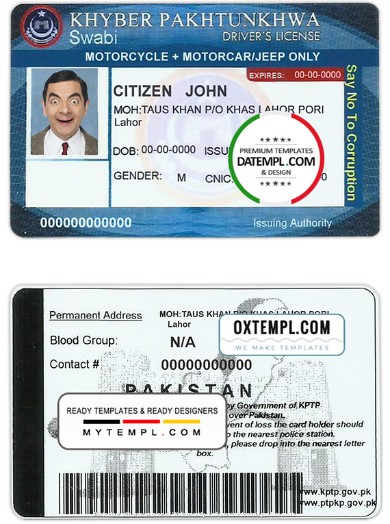 Pakistan driver license template in PSD format, with all fonts, fully editable