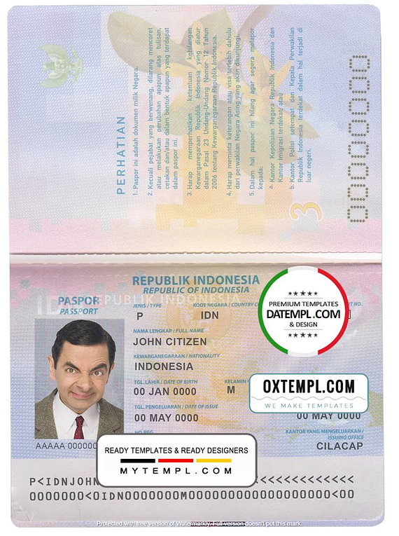 Indonesia passport template in PSD format, fully editable, with all fonts