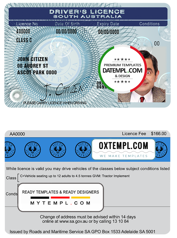 South Australia driving license template in PSD format, fully editable, with all fonts