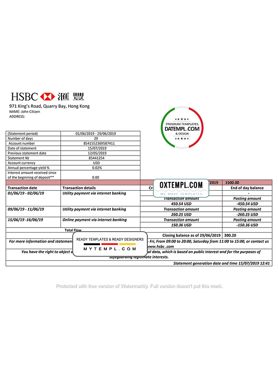 Hong Kong HSBC bank statement easy to fill template in Word and PDF format