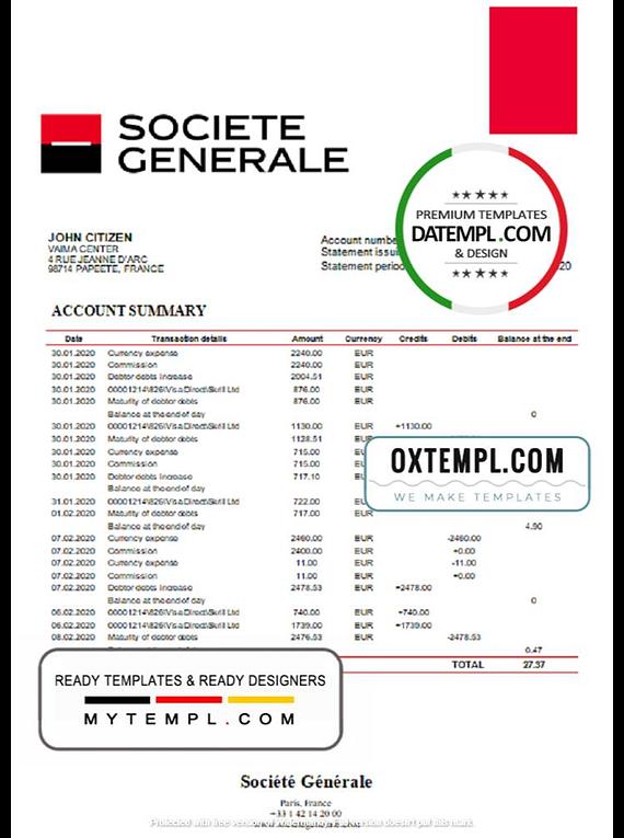 France Société Générale bank statement template in Word and PDF format