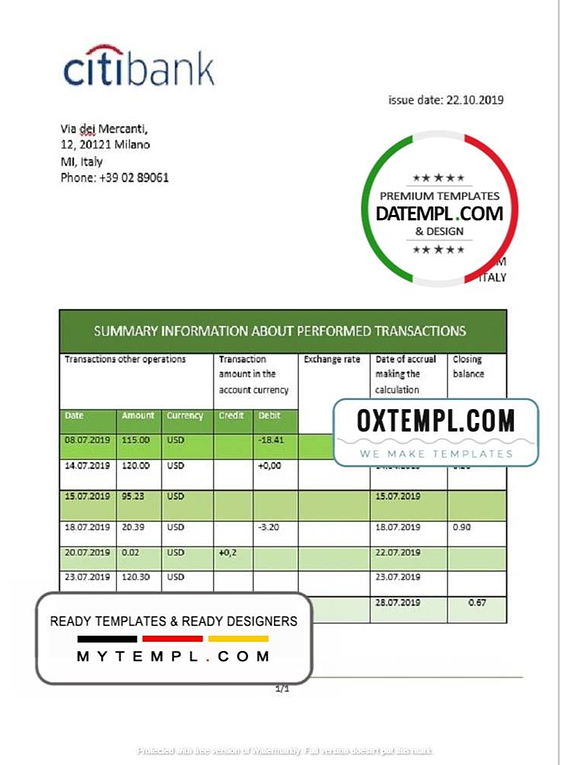 Italy Citibank statement template in .doc and .pdf format, fully editable