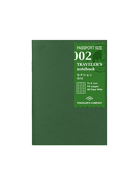 TRAVELER'S Notebook Refill Cuadriculado 002 Passport