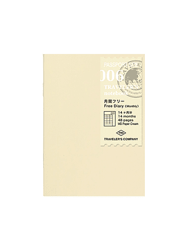 Refill Free Diary Monthly 006 Passport TRAVELER'S Notebook
