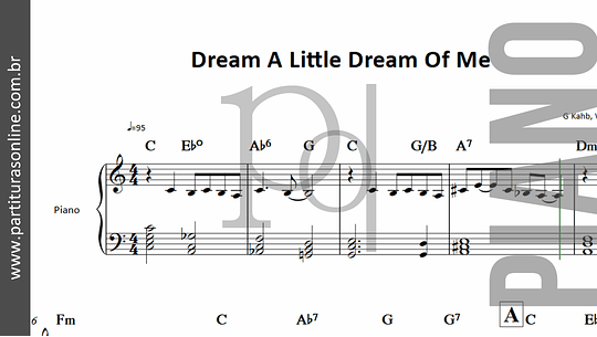 Dream A Little Dream Of Me | para Piano