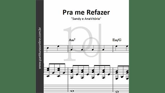 Pra me Refazer | para Piano