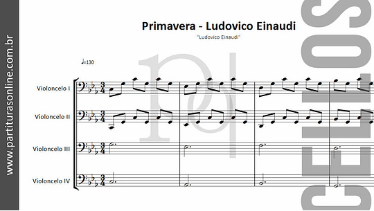 Primavera - Ludovico Einaudi | para quarteto de Violoncelos