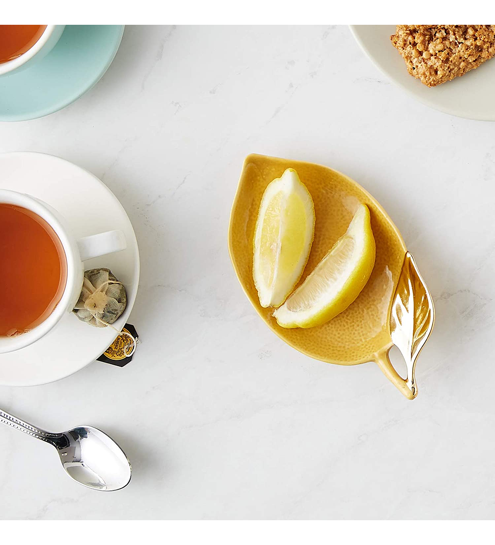 Plato limón cerámica dorado
