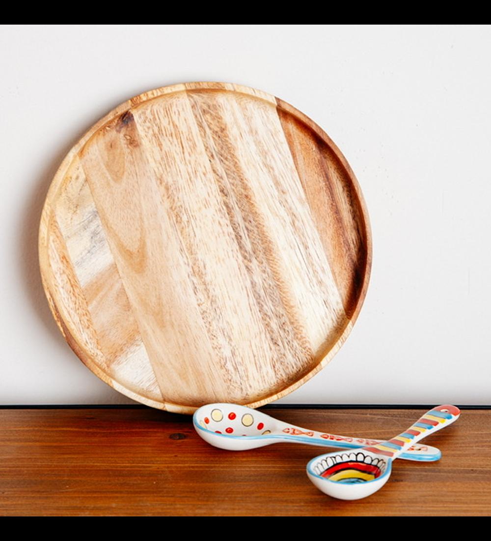 Plato madera de acacia
