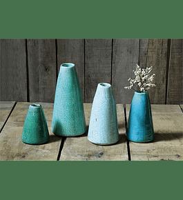 Set floreros cono cerámica