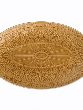 Plato ovalado mostaza