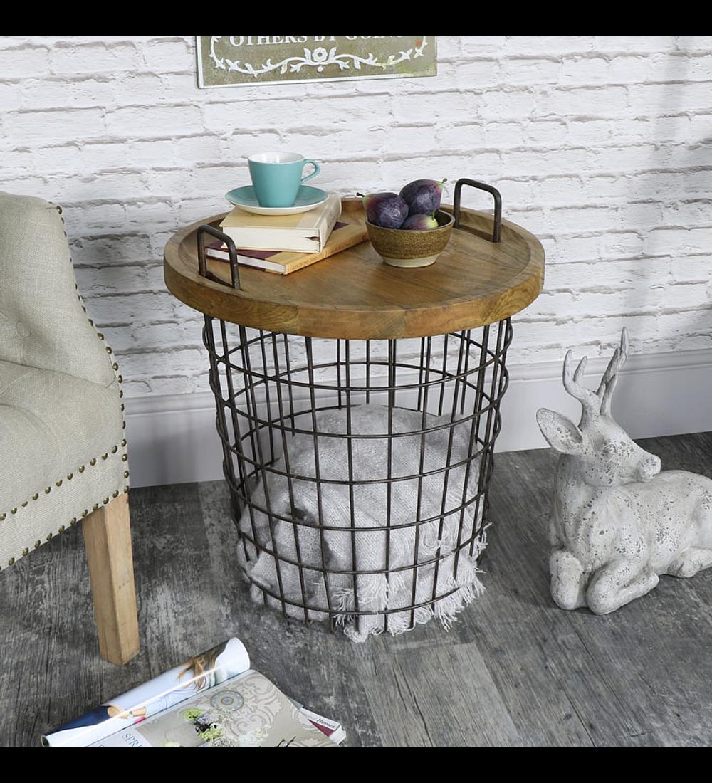 Mesa / canasto fierro madera