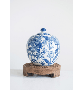 Jarrón cerámica azul