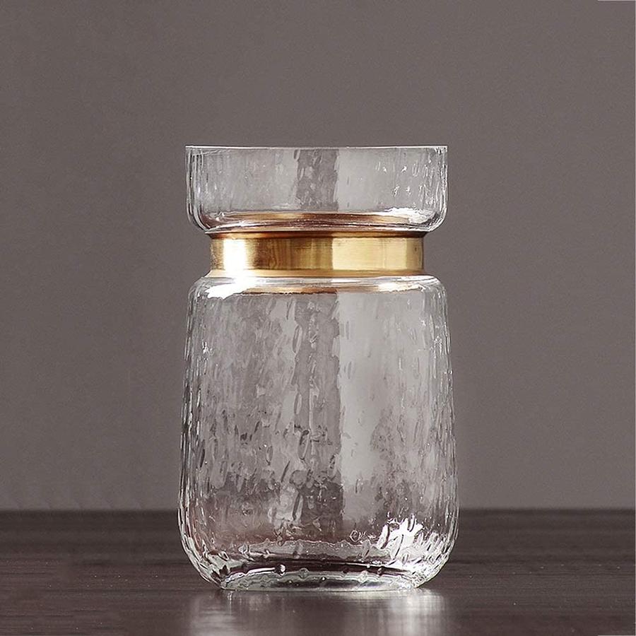 Floreros de vidrio dorado