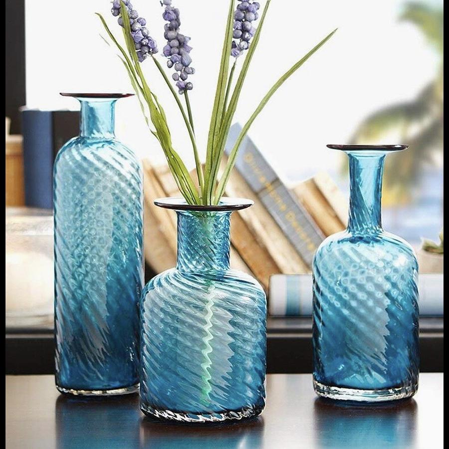 Floreros azules vidrio