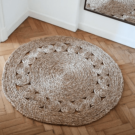 Alfombra decorativa yute círculos
