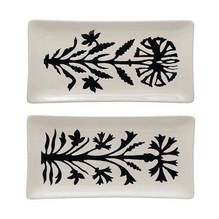 Set platos flor negra