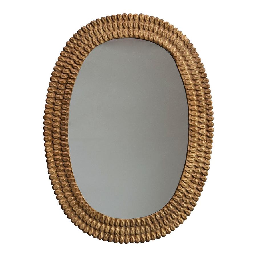 Espejo metálico dorado relieve