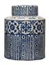 Frasco cerámica azul crema