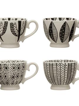 Tazas cerámica blanco y negro