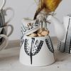 Azucarero cerámica blanco negro