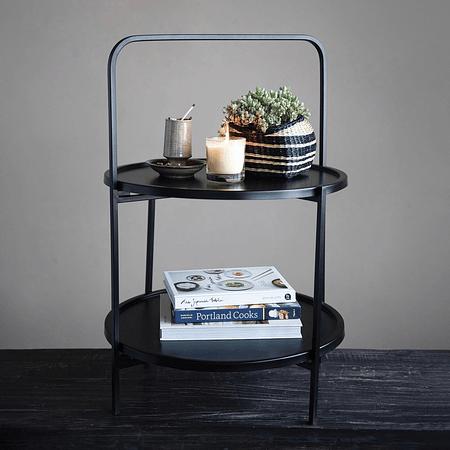Mesa pedestal negra fierro