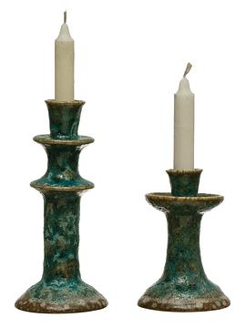 Candelabros verdes cerámica