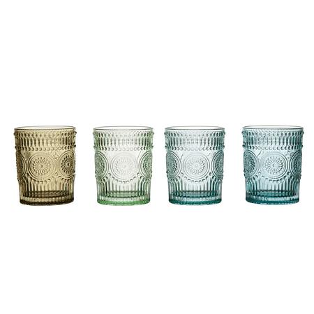 Set vasos vidrio colores