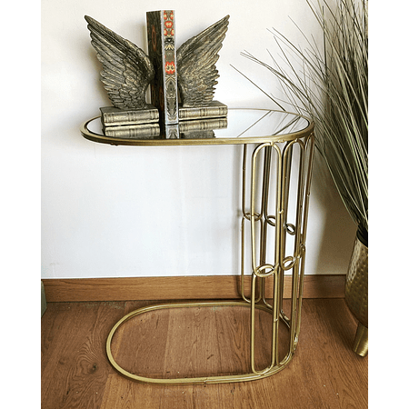Mesa lateral espejo dorada