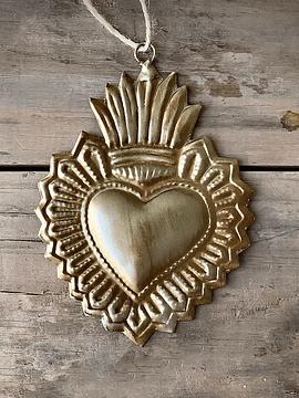 Corazón sagrado plateado