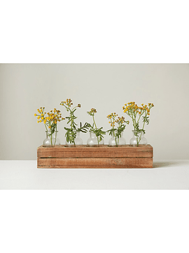 Bandeja madera floreros vidrio