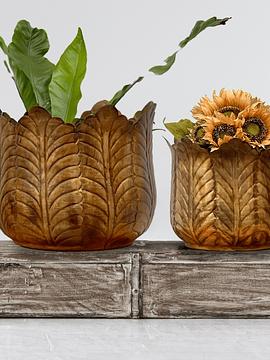 Maceteros hojas dorados