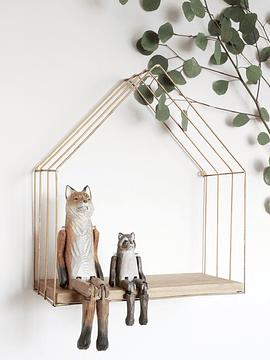 Repisa casa de madera y fierro