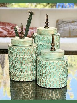 Jarrones turquesas cerámica