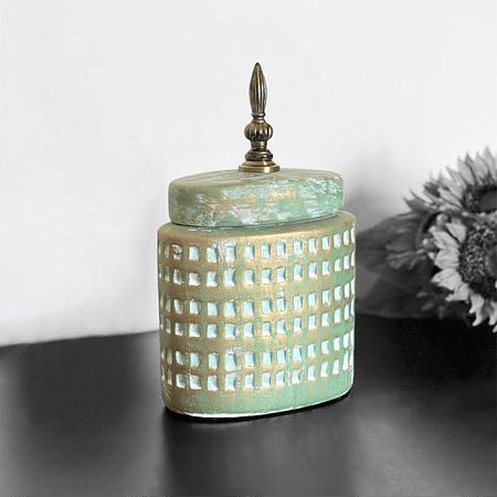 Jarrón turquesa cerámica