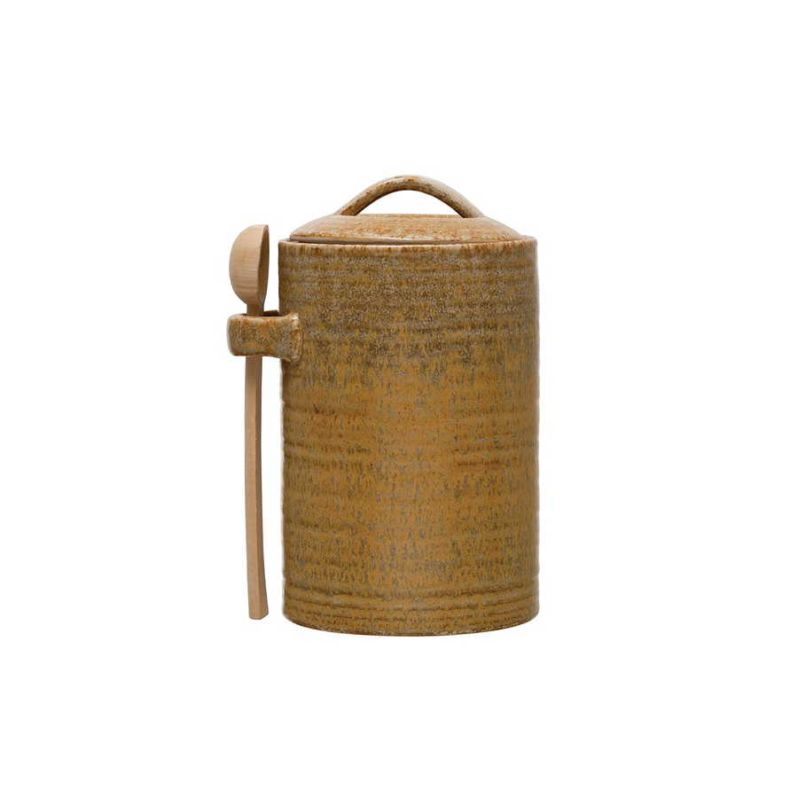 Contenedor cerámica mostaza