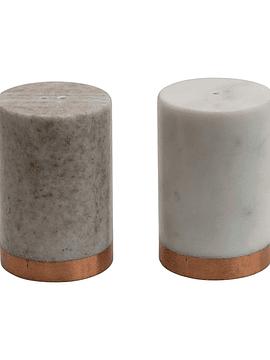 Salero pimentero mármol cobre