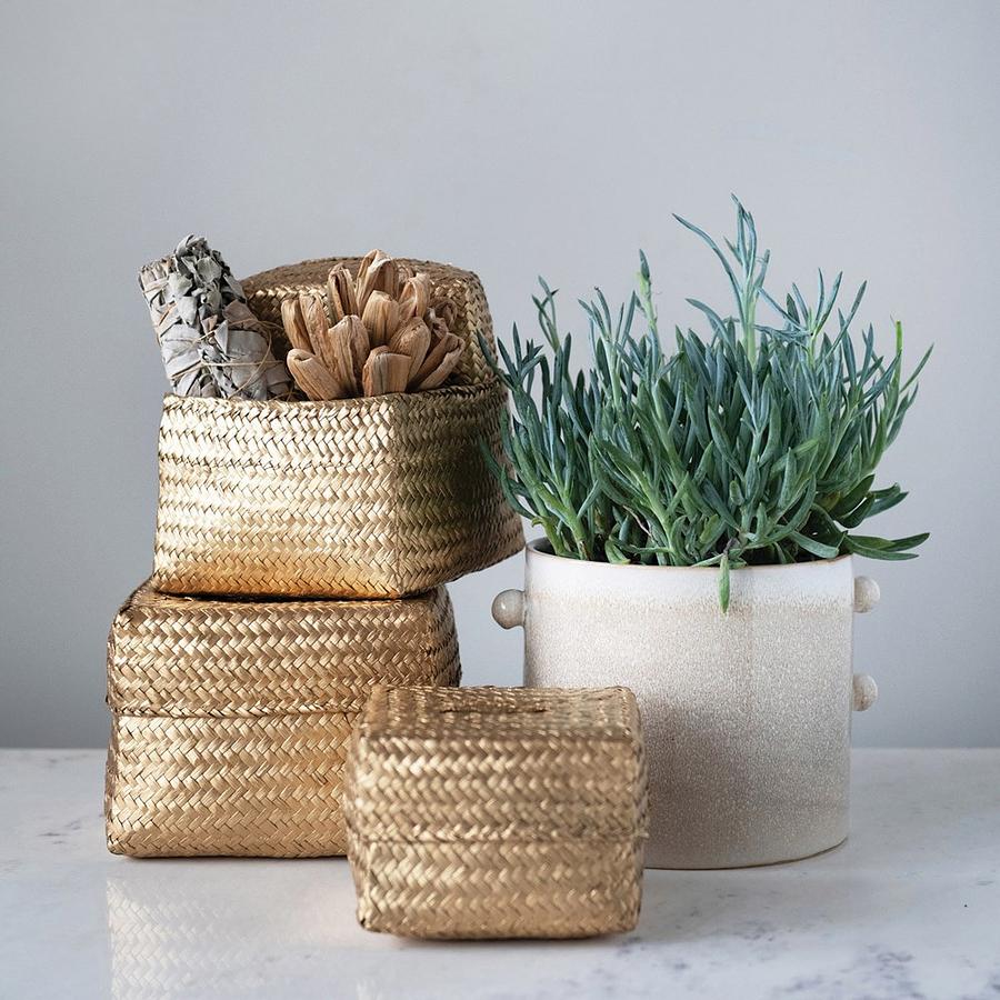 Cajas fibra doradas