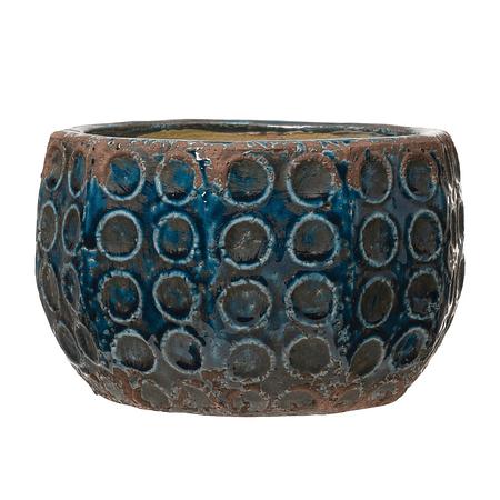 Macetero azul círculos